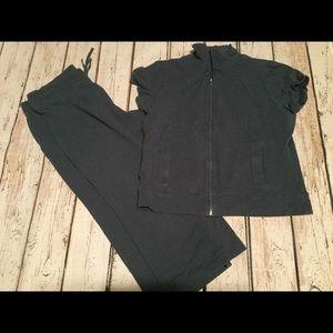 CASLON women's blue short sleeve Jacket Capri Set